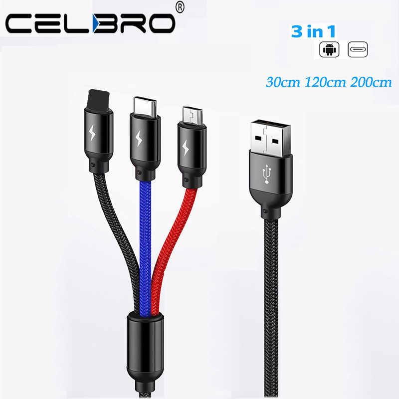 3 In 1 Phone USB Microusb Cable 2 Meter Usb C Short Cabel Multiple Usb Charger Cable For Samsung Android Car Usb Charge Cords 2m