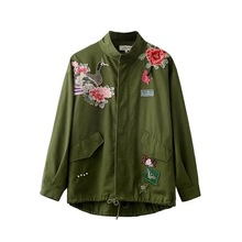 Fashion Army Green Women Jackets 2016 Female Frock coat Flight Suit Casual Print Jacket Embroidered Patches Women Jacket Coats
