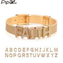 Pipitree, настраиваемое имя, нержавеющая сталь, сделай сам, CZ Циркон, браслеты с буквами, Регулируемая пряжка, браслет, браслет, женский, мужской, ювелирное изделие