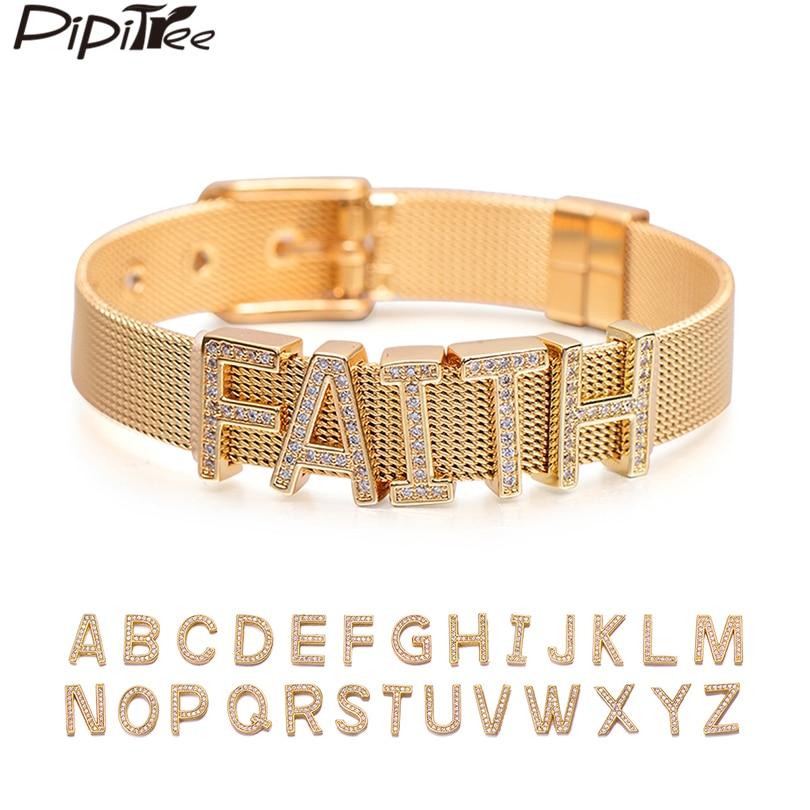 Pipitree Customize Name Stainless Steel DIY CZ Zircon Letter Bracelets Adjustable Buckle Charm Bracelet Bangle Women Men Jewelry