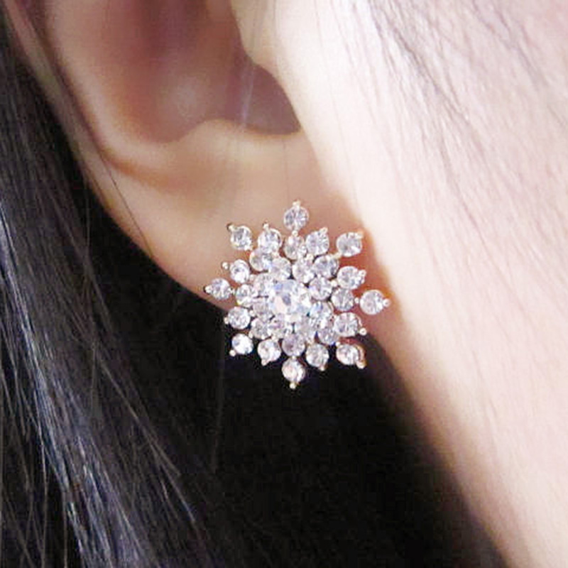2016 new ladies crystal snow flake bijoux statement stud earrings for women earring fashion jewelry free