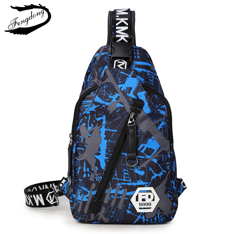 Fengdong New Men Backpack Crossbody Chest Bag Men Casual Fashion Camouflage Printed Bag Chest Bag Chest