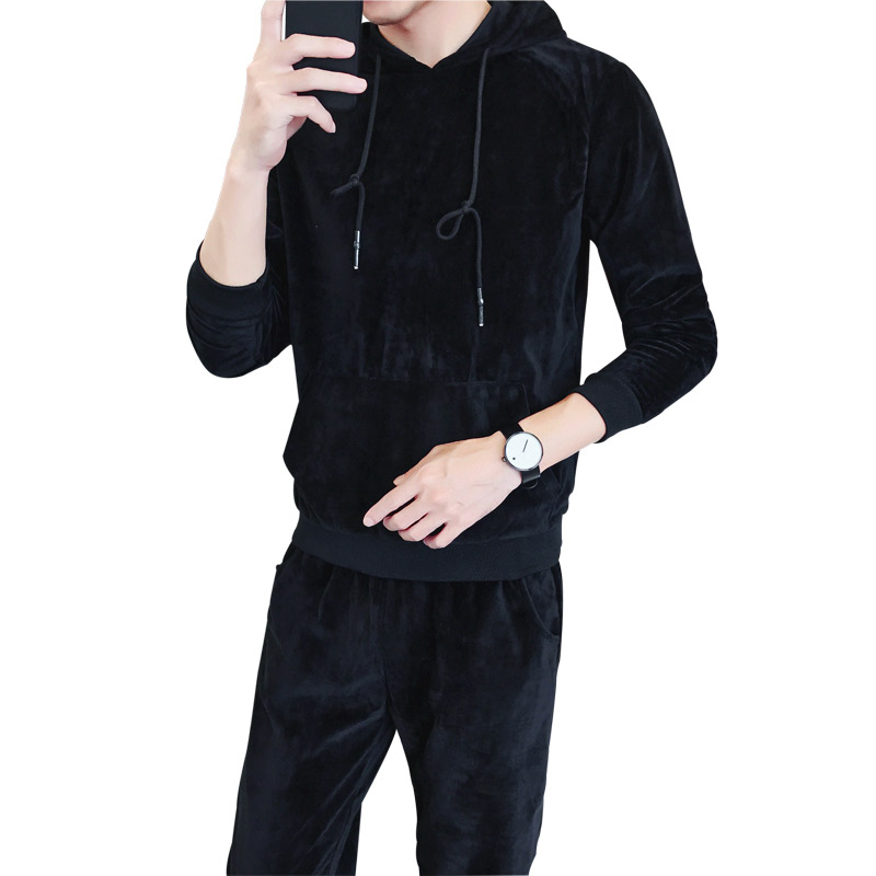 Loldeal Mens Tracksuit Velvet Suit Spring Autumn Sportwear Two-piece Set Hoodie Sweatshirt for Men