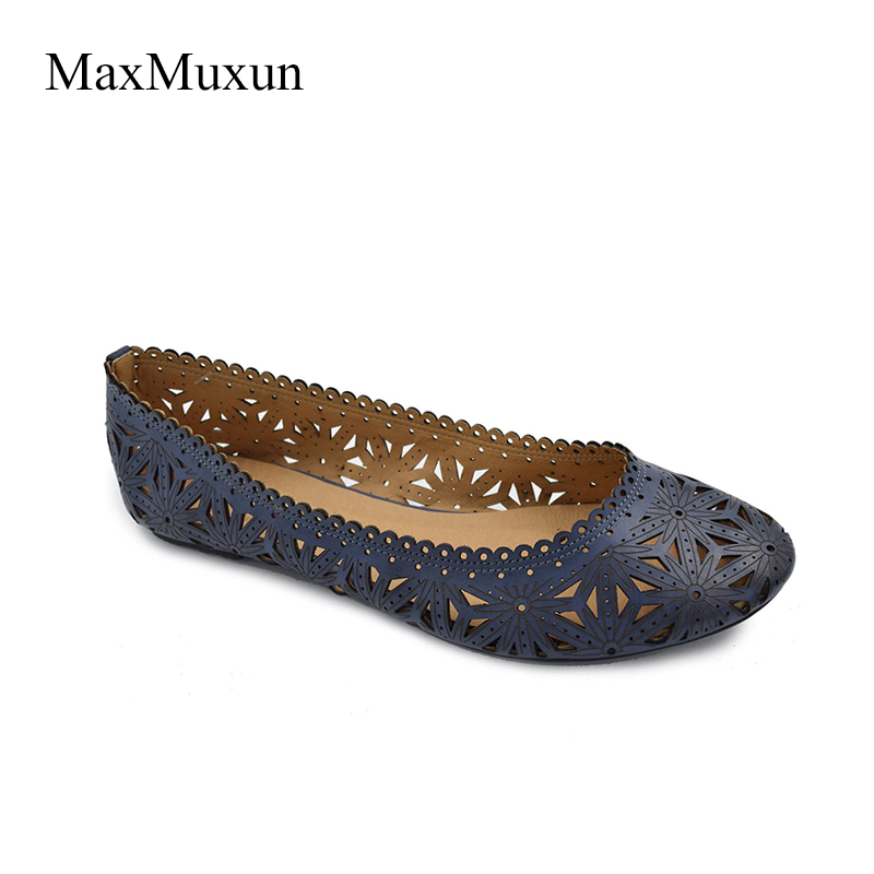Maxmuxun Womens Causal Shoes Flower Cut Out Blue Beige Green PU Ballerina Flats Round Toe Slip On Cute Dress Ballet Female Shoes trixxi 0537 new womens green lace cut out sleeveless casual dress s bhfo