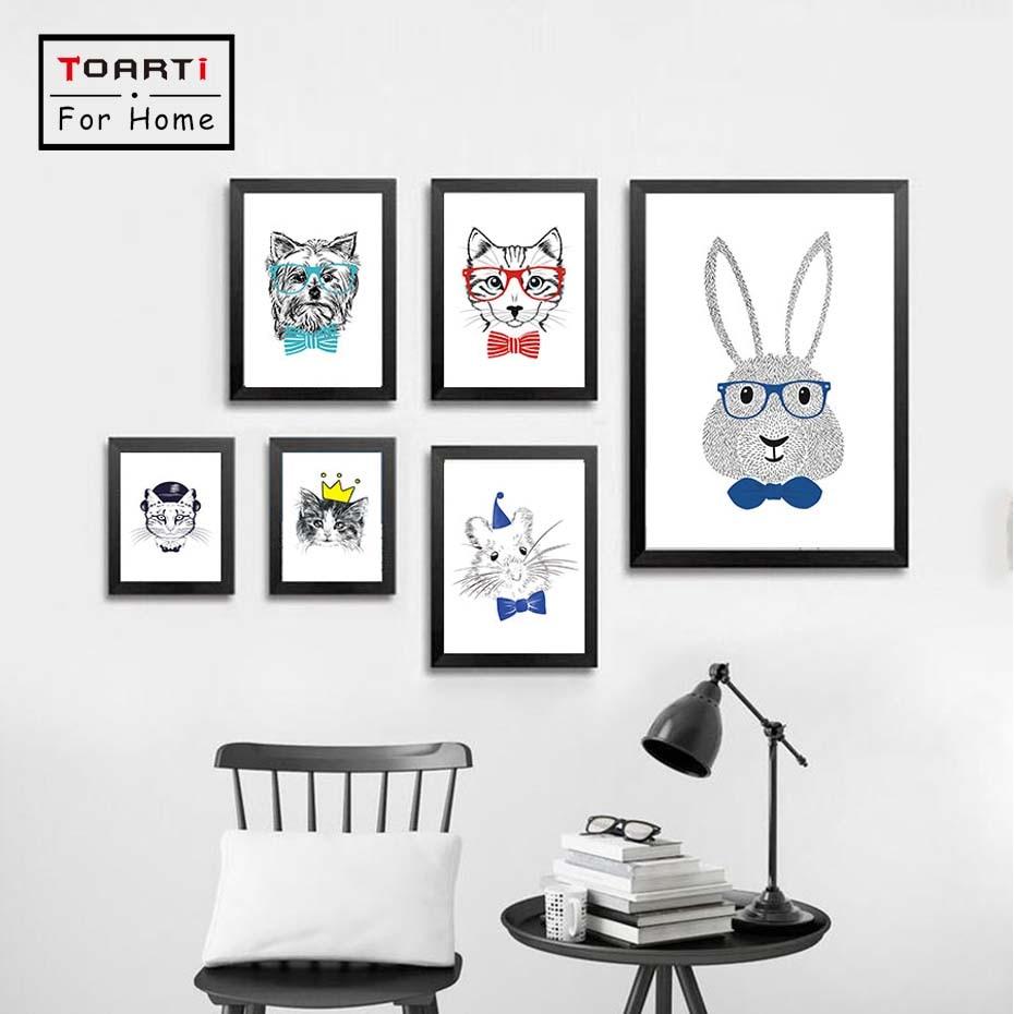 Kawaii animales de dibujos animados gato perro conejo carteles e ...