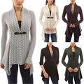 5 Colores de Moda Las Mujeres Abrigo Chaqueta de Punto Frente Hebilla Trenza Irregular Cardigan Sweater Casual