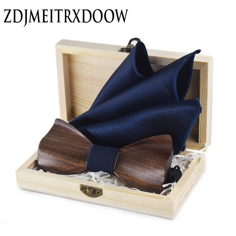 ZDJMEITRXDOOW 3D Wooden Bow Tie Men's Wedding Bowties With Wood Box Cufflinks Brooch Casual Luxury Vintage For Men Accessory