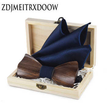 ZDJMEITRXDOOW 3D Wooden Bow Tie Men's Wedding Bowties With Wood Box Cufflinks Brooch Casual Luxury Vintage For Men Accessory - DISCOUNT ITEM  0% OFF All Category