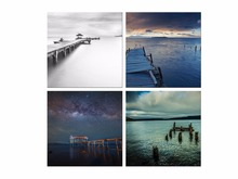 4 Panel Free shipping HD Printed canvas art beach pictures seascape painting wall Framed