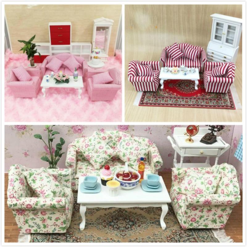 1:12 doll house miniatures mini furniture model living room scene sofa with tea table 4 pcs/ set mini doll house accessories simulation mini suitcase life scene ornaments model