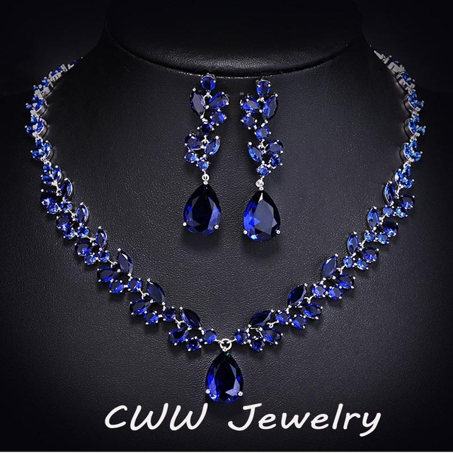 Luxury CZ Simulated Diamond Women Wedding Jewelry Royal Blue Sapphire Bridal Necklace Earrings Sets For Brides T115