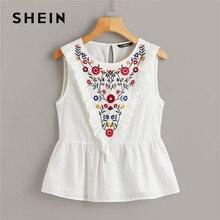 SHEIN Ruffle Trim Embroidery Print Peplum White Blouse Cotton Round Neck Sleeveless Summer Blouse Women 2019 Cute Solid Tops