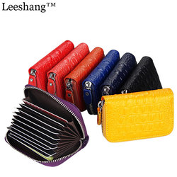 Leeshang new alligator creditcard holder mens wallet genuine leather zipper travel credit card wallet women id.jpg 250x250