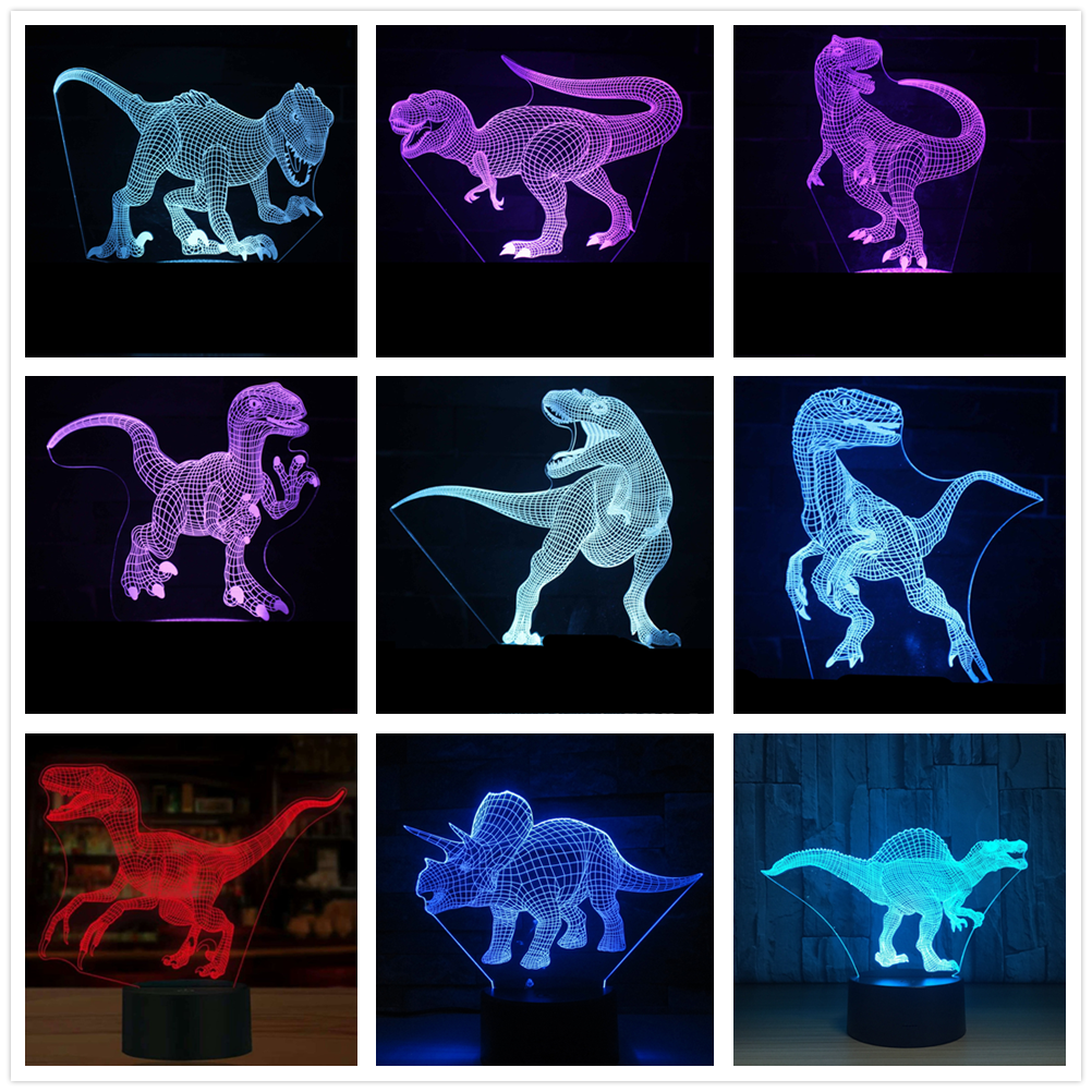 Dinosaure 3D lampe à LED Illusion 3D Illusion d'optique lumières 7 couleur multicolore USB décoration de la maison couleur changeante lampe pour les garçons