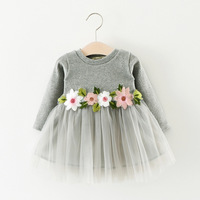 2017 new fashion spring long cotton baby birthday party g childirl children dress baby prin cess dress