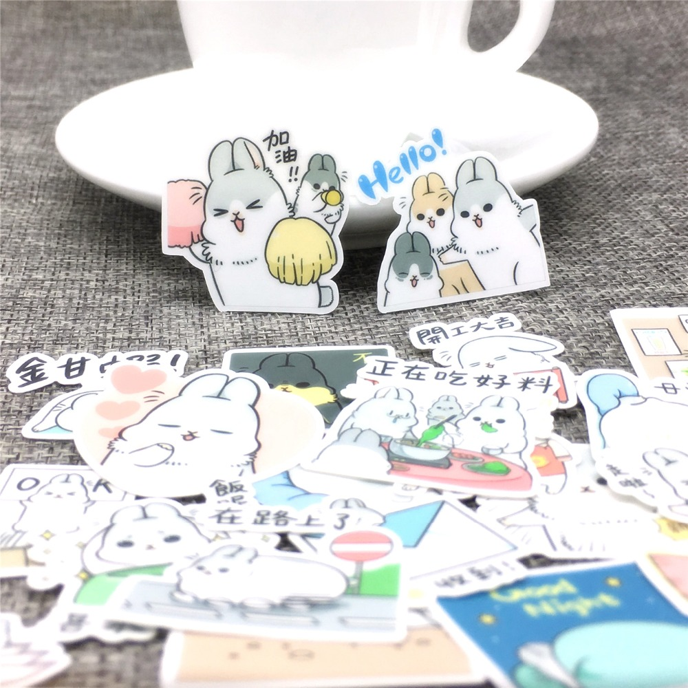 40 Pcs Adorable Cartoon Bunny Stickers Scrapbooking  Decoration DIY Toy PhoneAblum Diary Label Sticker Kawaii Stationery