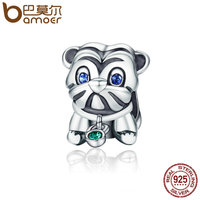 BAMOER Authentic 925 Sterling Silver Cute Puppy Animal Pug Doggy Beads Fit Original Charm Bracelet DIY