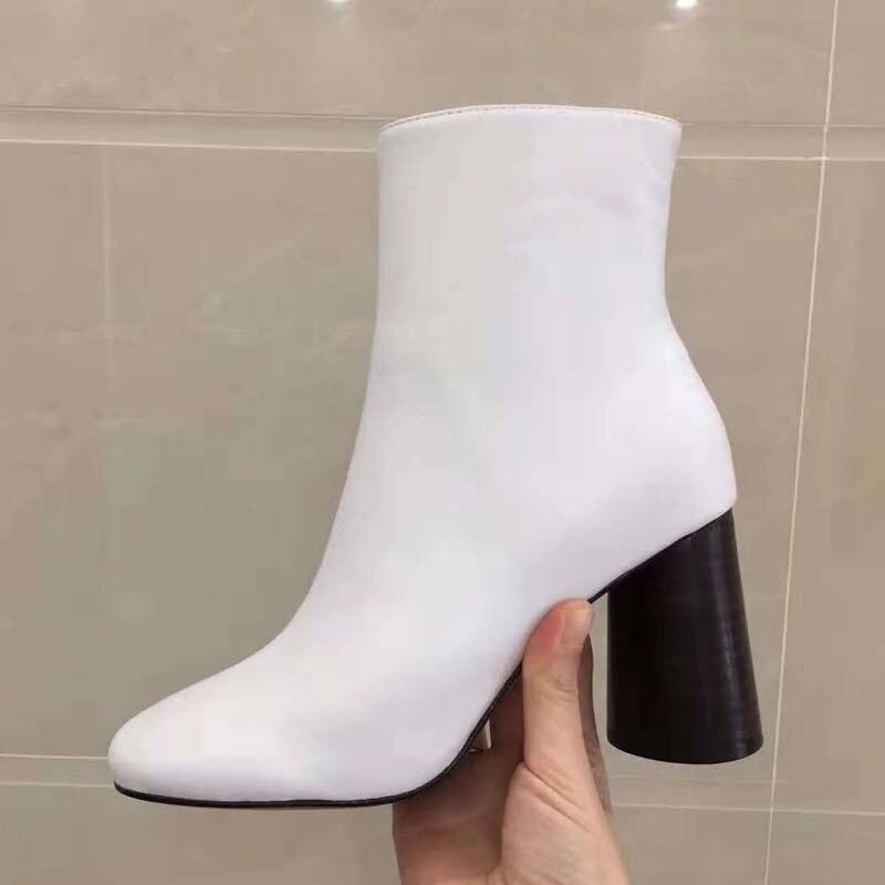 Schuhe Damenmode 2018 Leder Heel High Runde Schwarz Frau Kappe Echtes Seitlichem Stiefeletten Rei Martin verschluss mNnv80wO