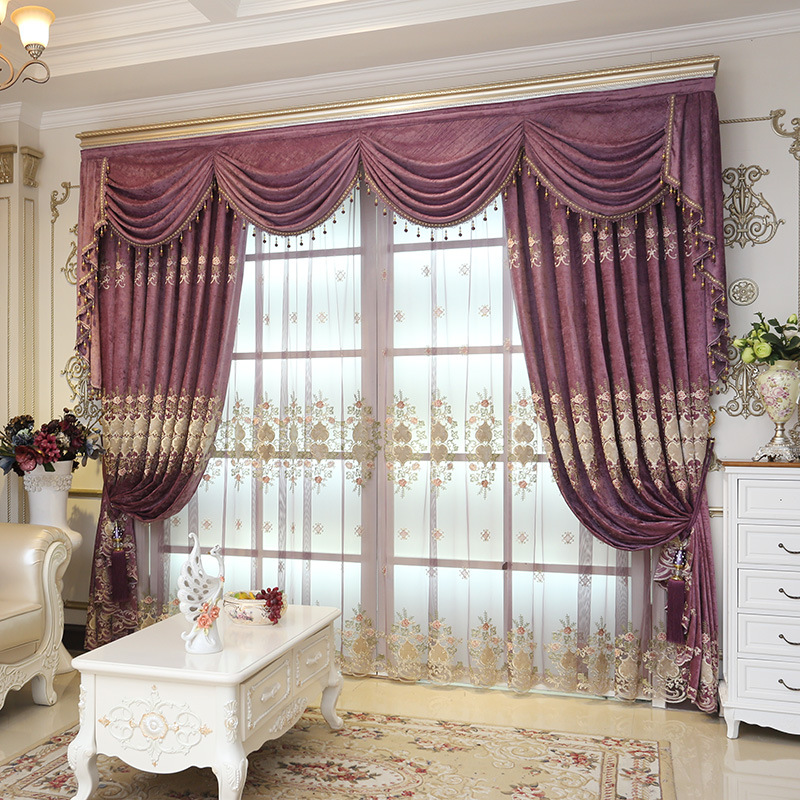 European style embroidered floral purple thicken Chenille window curtain sheer for living room bedroom 1pcs price