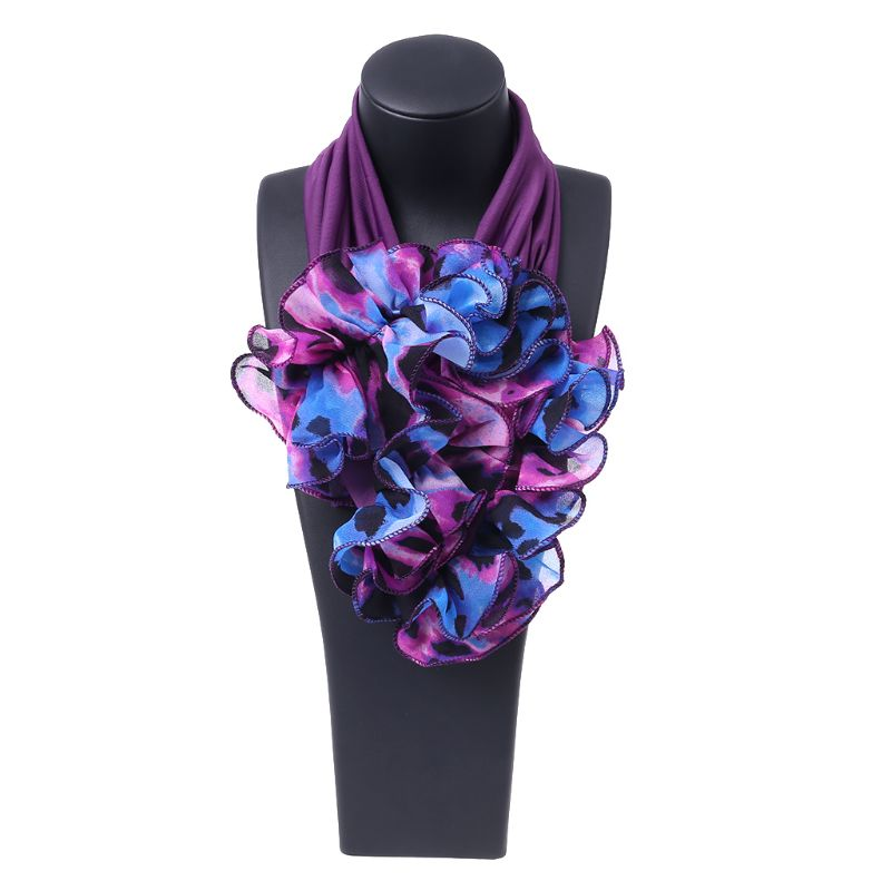 a3e405d32f2 Womens Floral Collar Scarf Luxury Flower Printed Neckerchief Ring Neck  Scarves