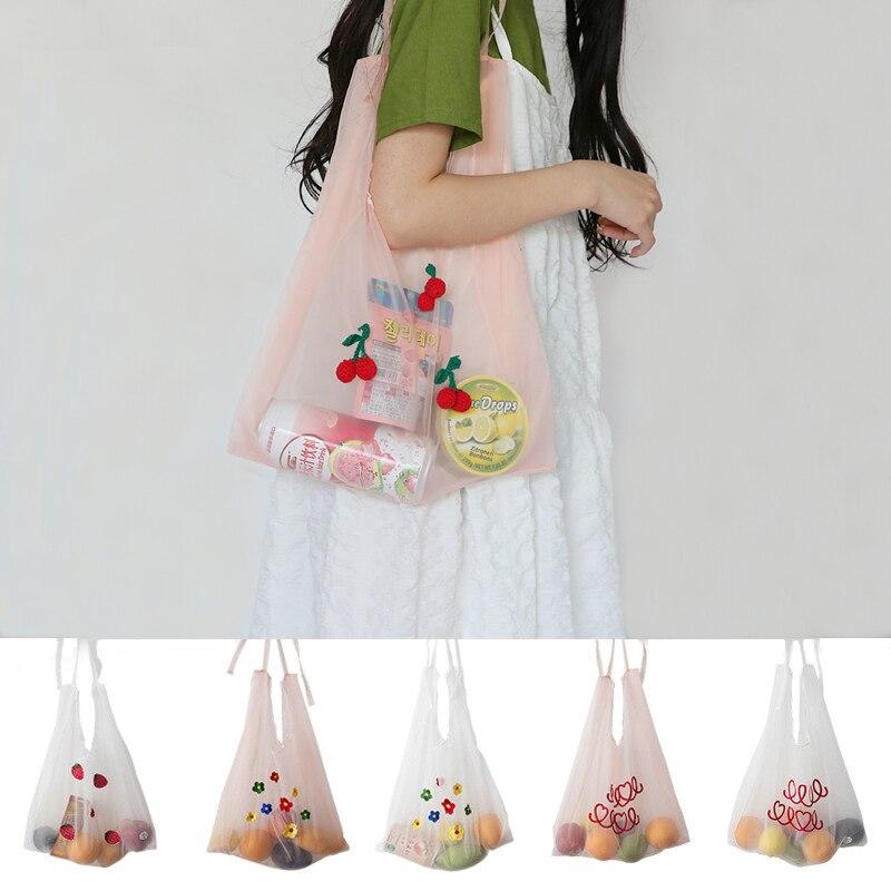 2019 Summer New Organza Handbags Embroidery Shoulder Bag Girl Shopping Bags Women Tote Student Handbag Korean Style