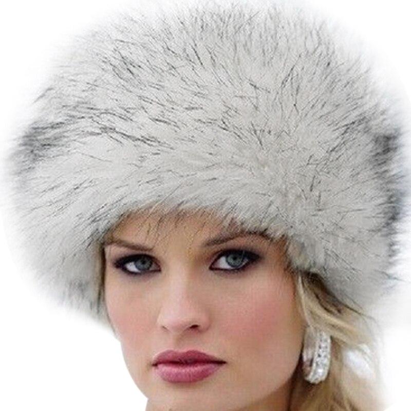 Us 3 82 15 Off Elegant Women Fur Hat New Women S Winter Warm Soft Fluffy Faux Fur Hat Russian Cossack Beanies Cap Ladies Ski Hats Bonnet In Women S