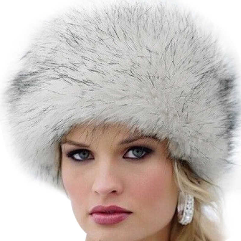 BLACK OR WHITE Ladies Winter Faux Fur Hat Fluffy Cossack Russian Style FREE PP