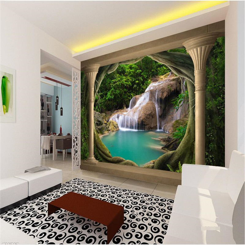 papier peint 3d balcon naturel paysage cascade lac fond. Black Bedroom Furniture Sets. Home Design Ideas