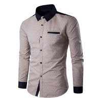 2017 Fashion Patchwork Mens Shirts Brand New Anchor Print Long Sleeve Lapel Casual Dress Shirt Male