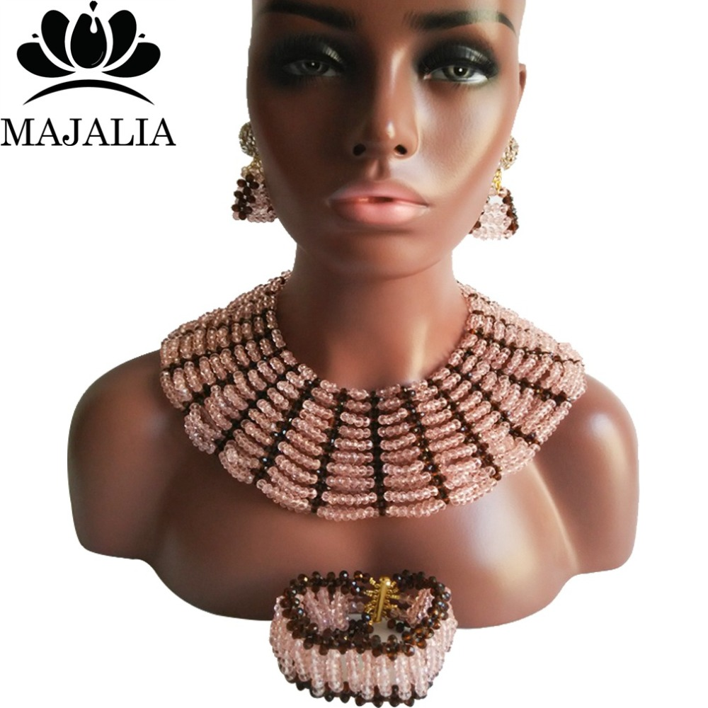 Majalia Classic Nigerian Wedding African Jewelry Set Peach and Brown Crystal Necklace Bride Jewelry Sets 10SX005Majalia Classic Nigerian Wedding African Jewelry Set Peach and Brown Crystal Necklace Bride Jewelry Sets 10SX005