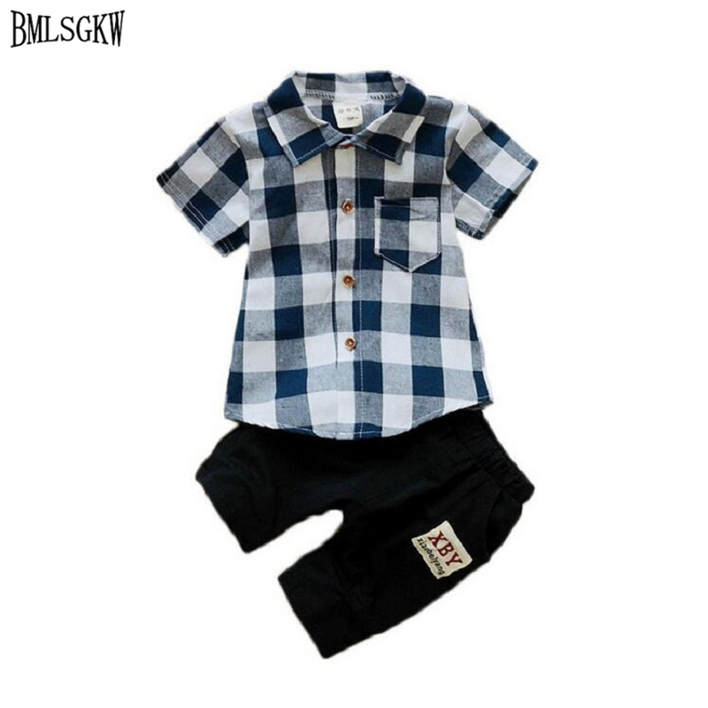 Baby Boy Clothes Set 2017 Summer Cotton Plaid Shirts + Pants Boys Prom Suits 1-4y Kids Clothes Boys Clothing moda infantil SB104 2017 new boys clothing set camouflage 3 9t boy sports suits kids clothes suit cotton boys tracksuit teenage costume long sleeve
