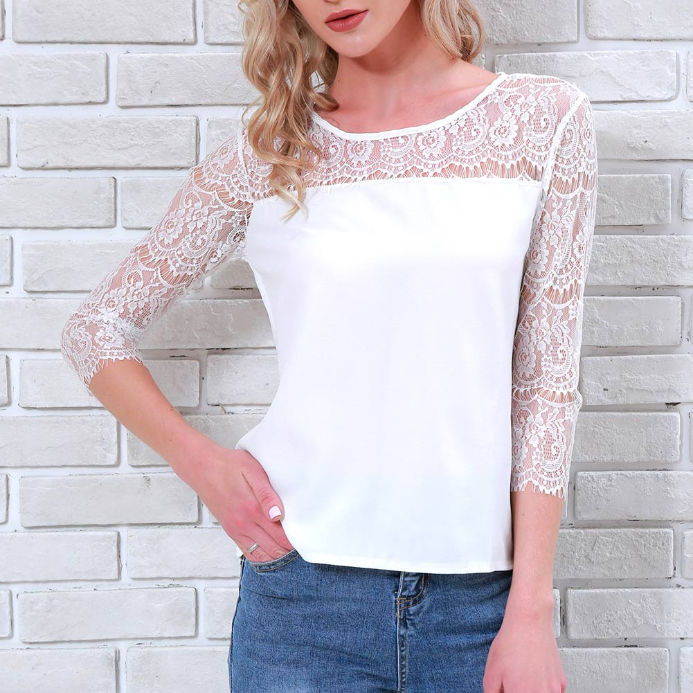 Summer Women Shirt 3/4 Sleeves Hollow Out See Through Lace Top Office Lady T-shirt  H9