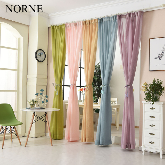 NORNE Colorful Casual Weave Textured Semi Solid Voile Sheer Window Curtain  Panels / Drapes For Bedroom