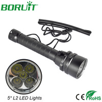 Boruit 50W 8000Lm 5 XM L2 LED Scuba Diving Flashlight Underwater 100m Dive Torch Waterproof Lantern Light Lamp