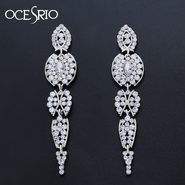 OCESRIO New 2019 Long Silver Earrings for Women Rhinestones Dangle Crystal  Wedding Earrings Drop Jewelry Party Dress ers-n73 c700e1083a4e