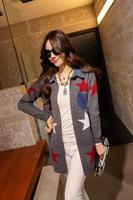 AQ180 Fashion Design Cool Star Printing Knitwear Denim Splicing Collar And Pocket Female Cardigan Women Casual