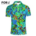 FORUDESIGNS Multicolor Novelty Polo Shirt for Men Polyester Short Sleeve Slim fit Polo Shirt Casual Spring Summer Poloshirt Men