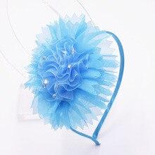 Большая резинка для волос с цветком из шифона со стразами и повязка на голову для малышей ручной работы из мягкой повязки на голову; Детские аксессуары для волос для девочки
