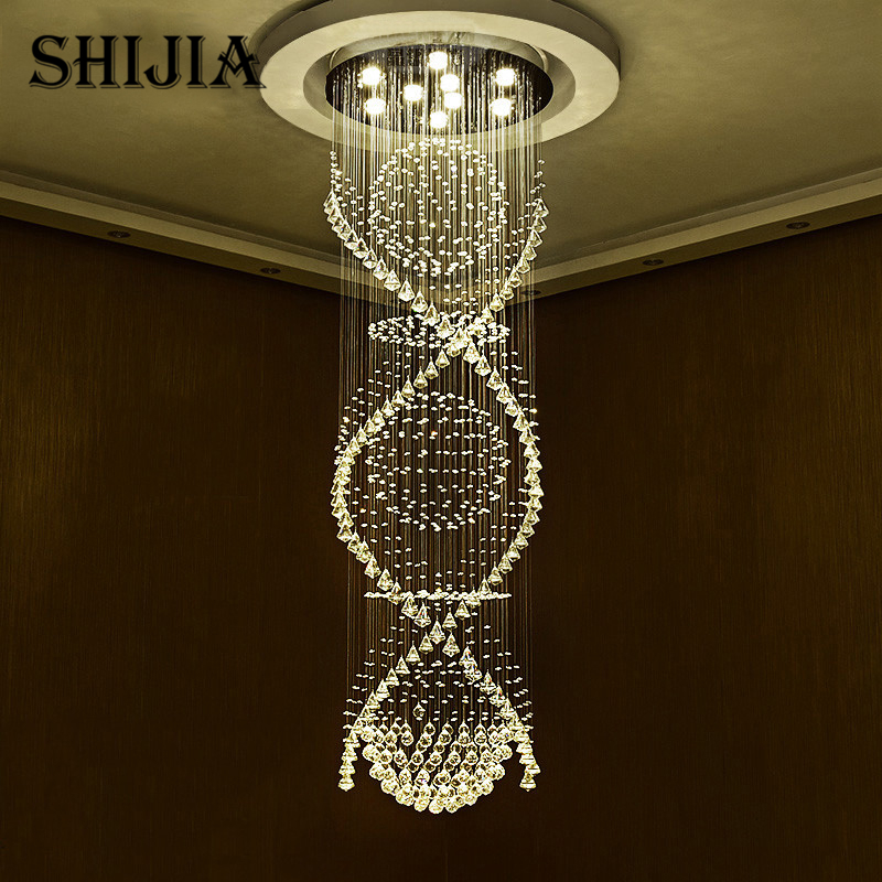 Long Spiral Crystal Ceiling Light Fixture Lustre Crystal