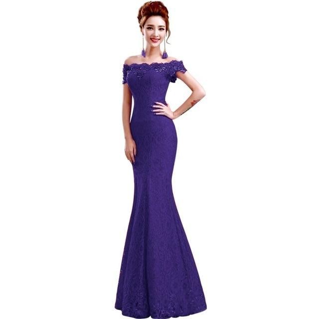 Misshow Русалка вечернее платье Розовое Кружевное длинное вечернее платье Элегантное с открытыми плечами без рукавов robe de Soiree - Цвет: Purple
