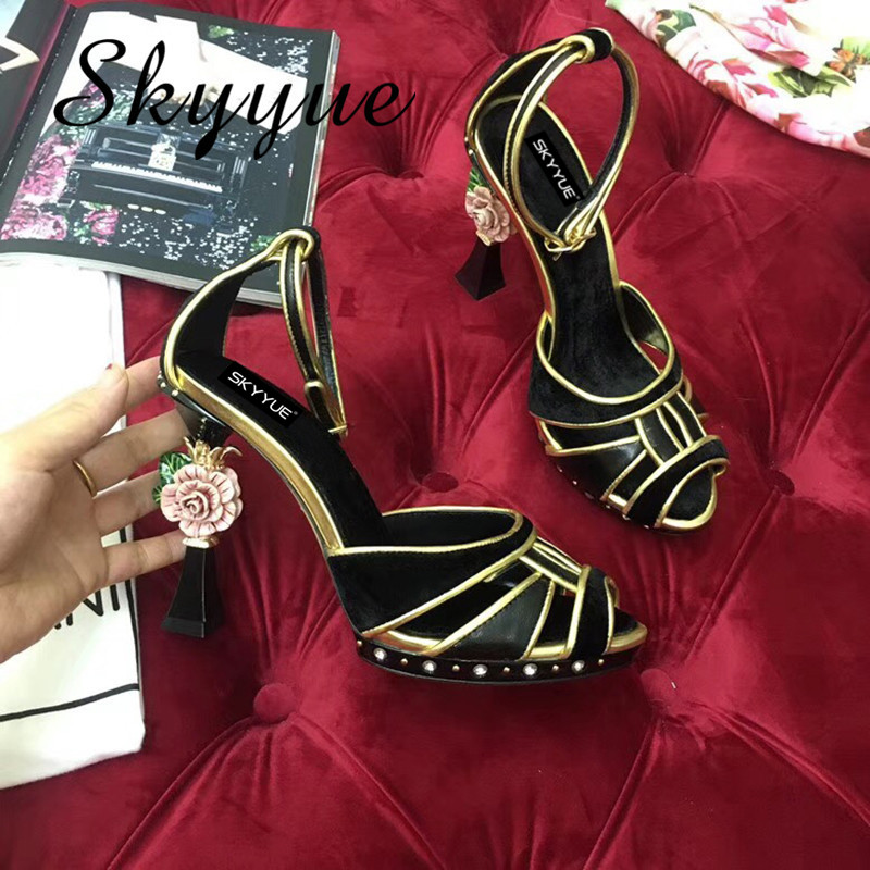 SKYYUE 2018 New Genuine Leather Floral Beading Women Summer Sandals Open Toe Metal Sequined High Heel Sandals Shoes Women цена 2017