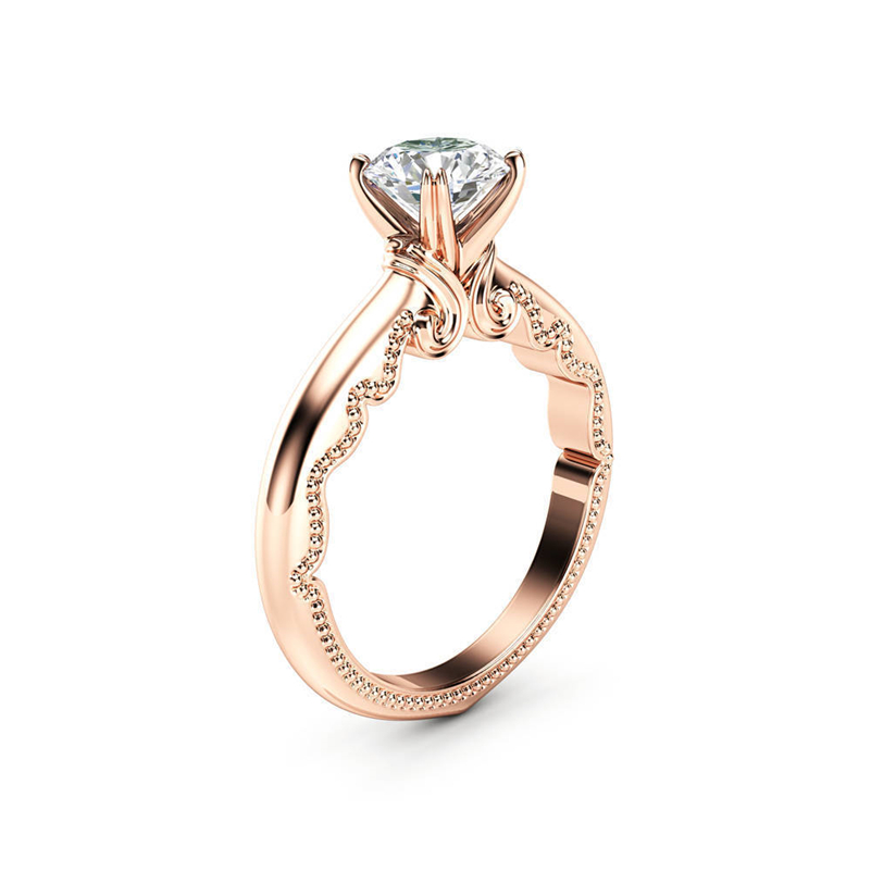 14K Rose Gold Jewelry 1 Carat Diamond Ring For Women Bague Gemstone Anillos CT Engegement Bizuteria 14k Gold Ring Topaz Jewelry
