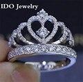 Lujo de diamantes CZ 925 Anillos de plata esterlina para Las Mujeres Compromiso de la boda Anillo de la corona de Joyas de Estilo Caliente de La Manera 201