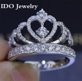 Luxury CZ diamond 925 sterling silver Rings for Women Engagement wedding crown Ring Hot Fashion Style Jewelry 201
