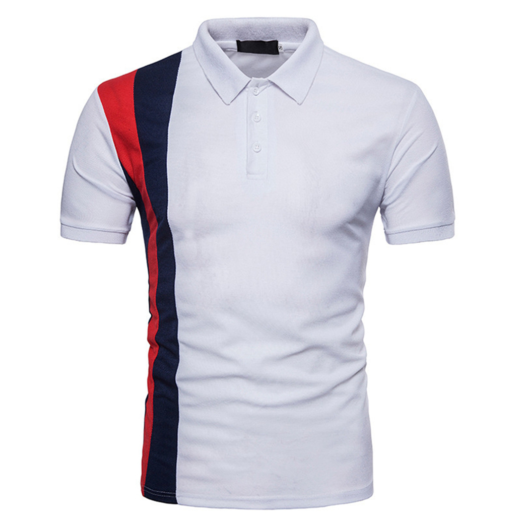 Male Slim Short Sleeve Polo Shirt Men Fashion Contrast Color Short Sleeve Tops Casual Plus Size Button Fit Polo Shirts Clothes