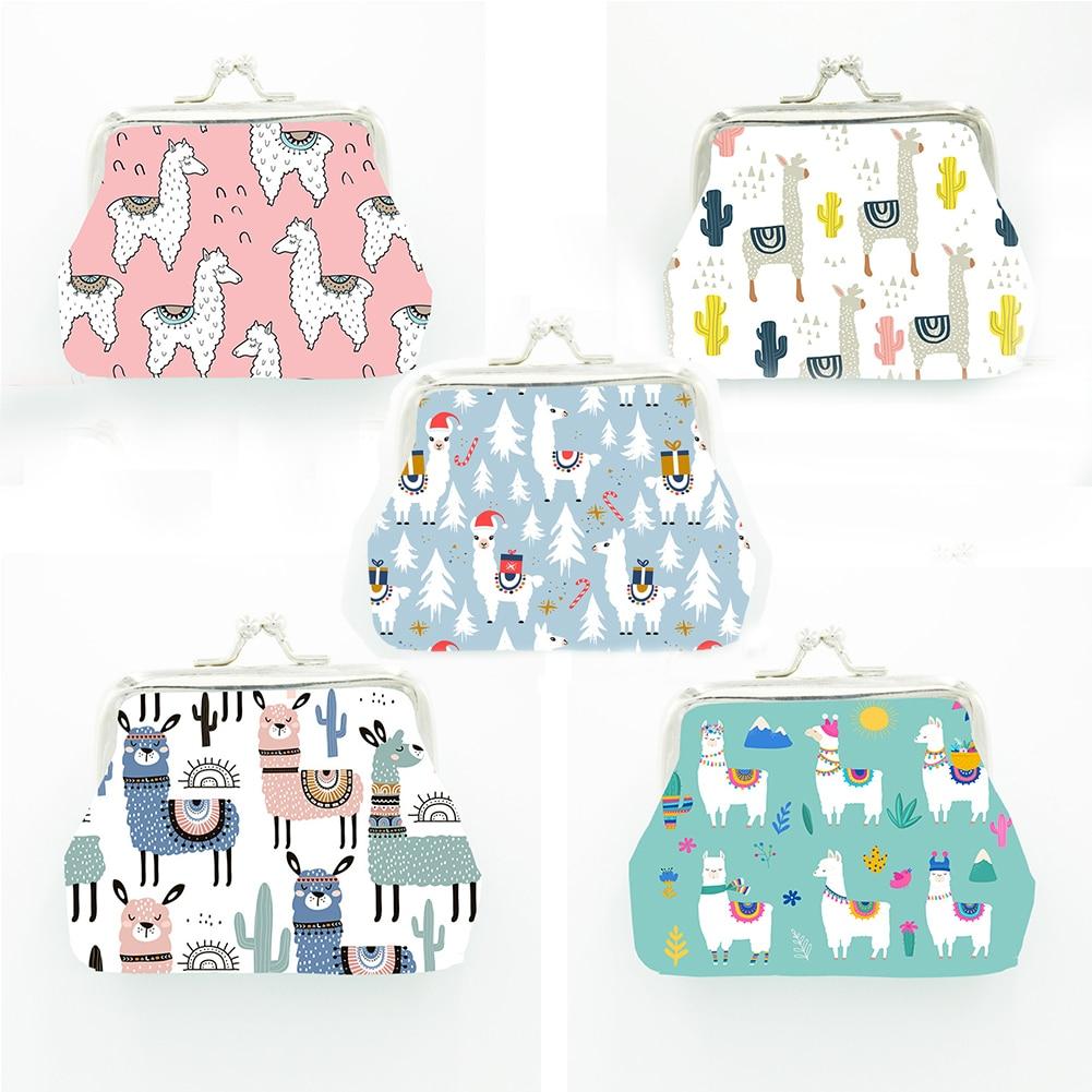 Alpaca Printed Coin Purse Women Girl Mini Cartoon Pattern Small Wallet Bag PU Leather Change Purse Female New Fashion Coin Pouch