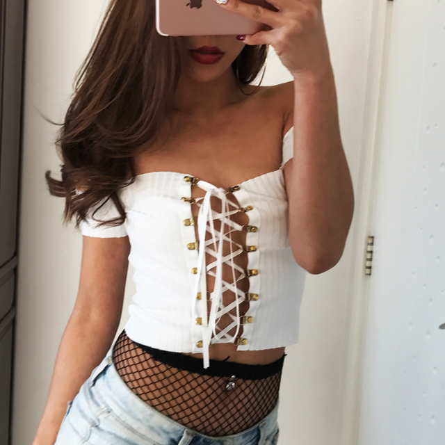 Women Off Shoulder Ribbed Crop Top with Lace Up Front  Line Buttons Along Bust and Adjustable Ties Up Front Crop Tops