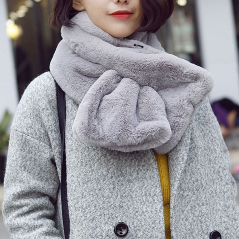 Women Winter Thicken Plush Faux Rabbit Fur   Scarf   Solid Color Collar Shawl Neck Warmer Shrugs Knitted Neckerchief Long   Wraps