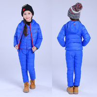 Çocuk Set Erkek Kız Giyim Setleri Kış 1-7 T Aşağı Pamuk Ceket + Pantolon Su Geçirmez Kar Sıcak Çocuklar giyim Suit 2/3 adet