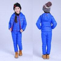 בויז סט ילדי בנות ביגוד סטי החורף 1-7 T למטה ז 'קט כותנה + מכנסיים ילדים חמים שלג עמיד למים חליפת בגדי 2/3 יחידות